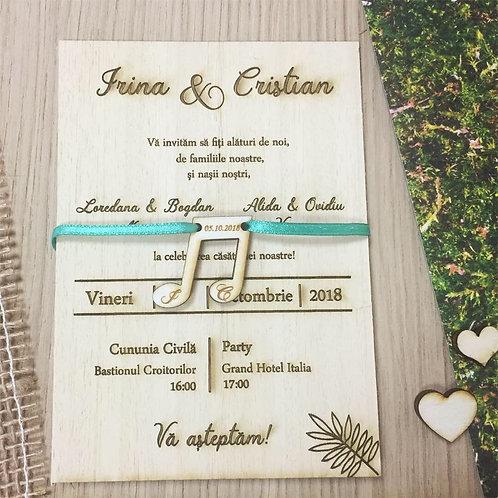 Invitație din lemn