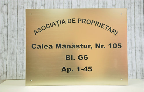 Placa imobil - 40 x 30 cm Asociație de proprietari