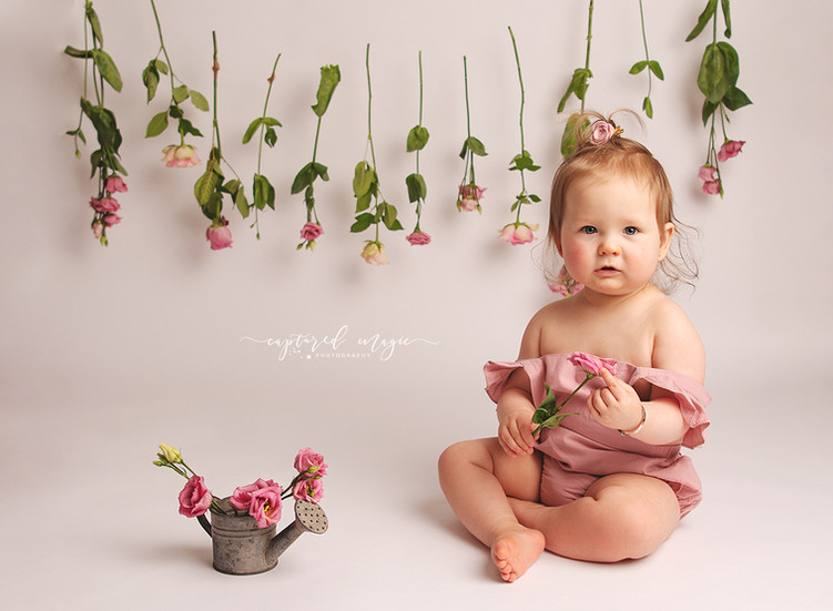 Simple baby photo with flowers