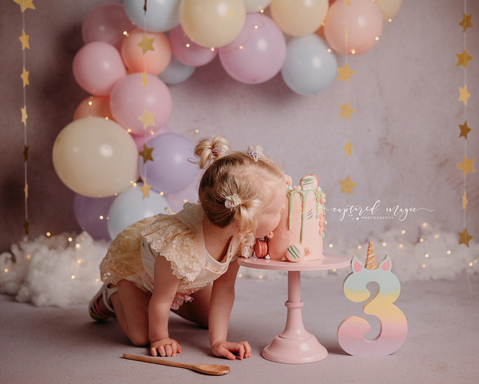 Eating a cake at a birthday photoshoot
