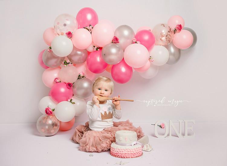 Pink and silver cake smash