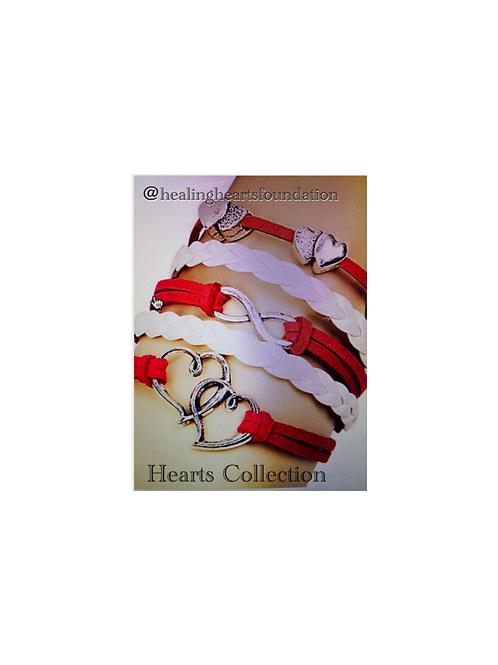 Red White Heart Bracelet