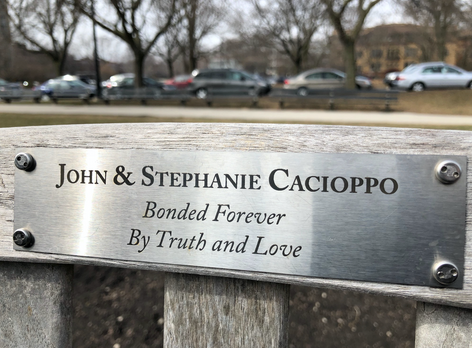 Stephanie and John Cacioppo_Dedication Bench, Lincoln Park, Chicago