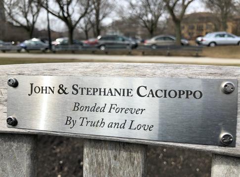 Stephanie and John Cacioppo_Dedication Bench, Lincoln Park, Chicago