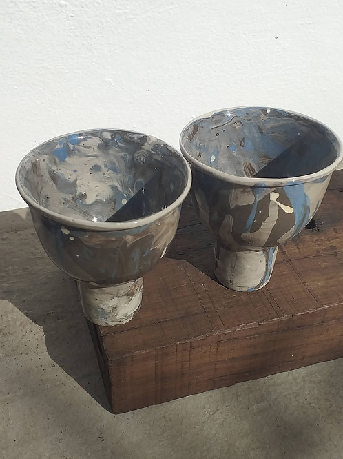 Conjunto de taças única mescla azul
