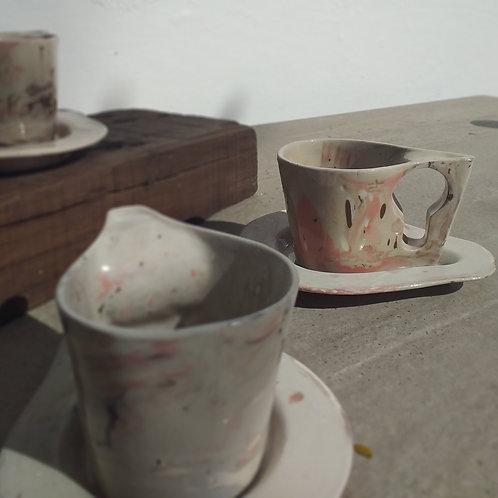Conjunto de xícaras únicas mescla rosa