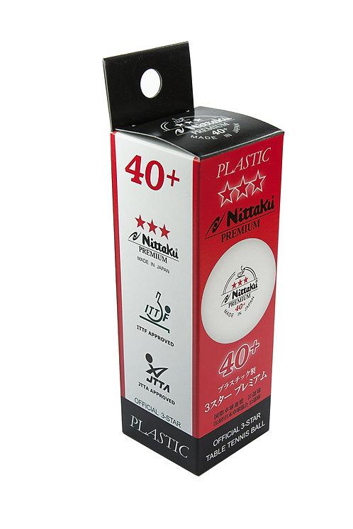 Мячи для н/т NITTAKU 3*** Premuim 40+, бел. 3 шт.
