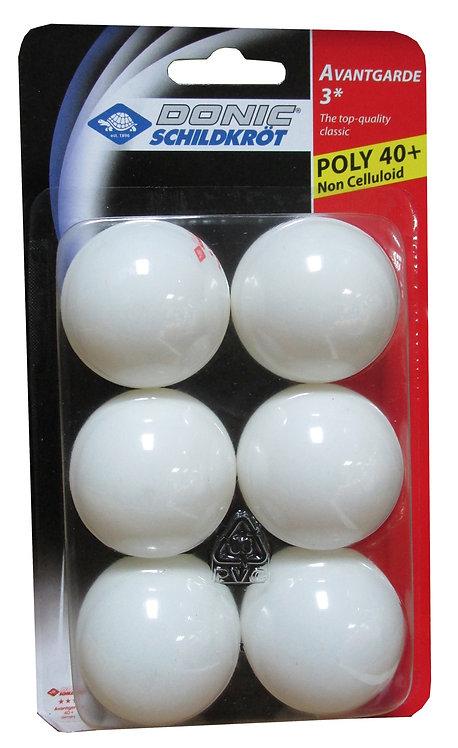 Мячи для н/т DONIC/Schildkrot Avantgarde 3*** 40+ бел. 6 шт.