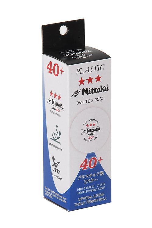 Мячи для н/т NITTAKU 3*** NSD 40+, бел. 3 шт.