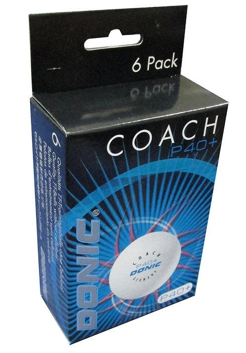 Мячи для н/т DONIC Coach P40+ бел. 6 шт.