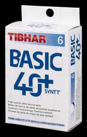 Мячи для н/т Tibhar Basic, 40+ SYNTT, бел. 6 шт.