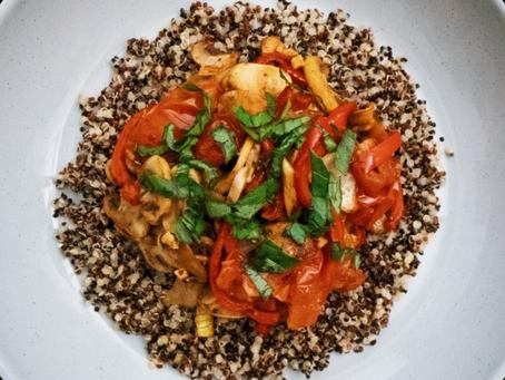 Roasted Red Pepper & Mushroom Quinoa Bowl