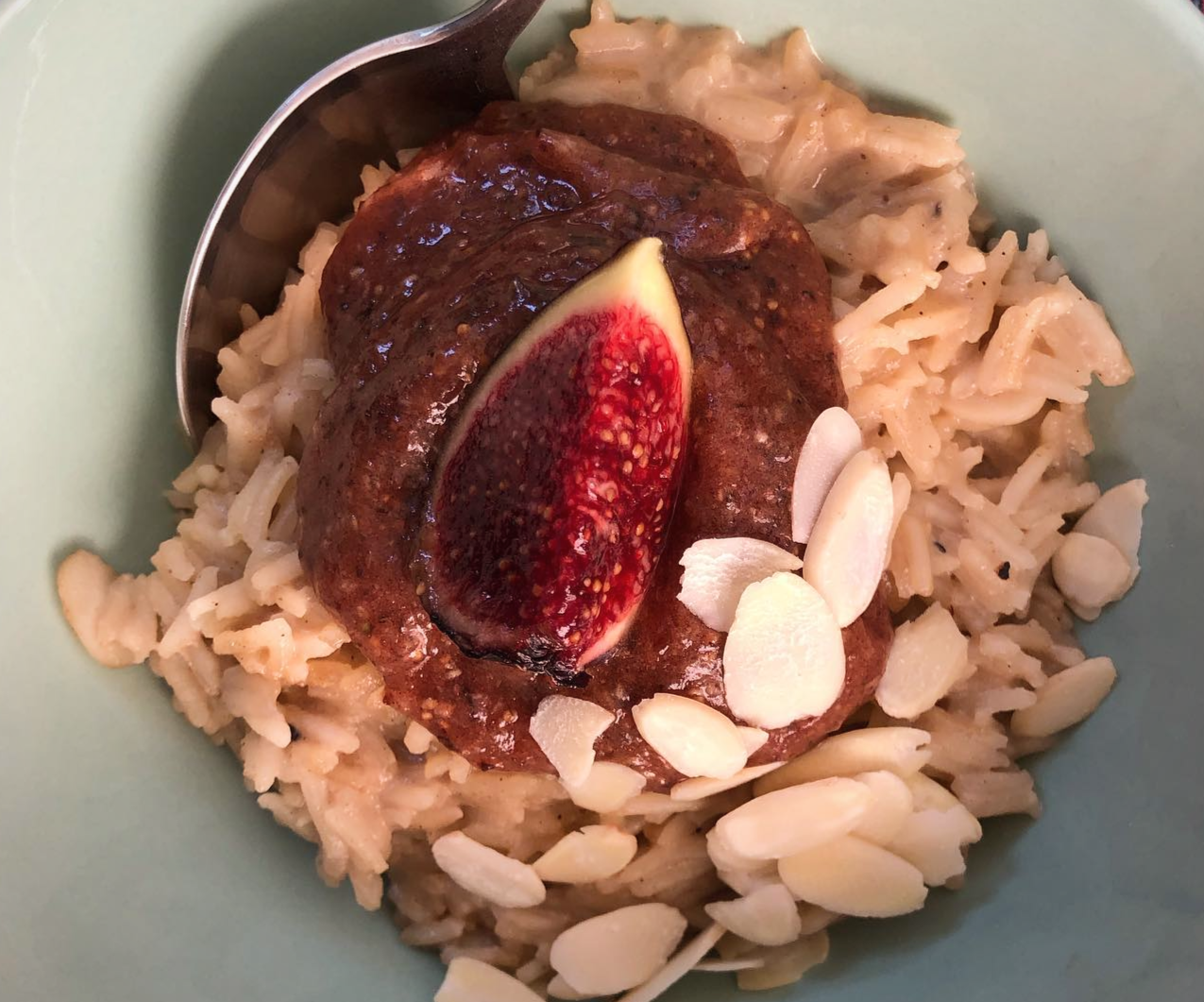 Luscious Fig and Almond Rice Pudding