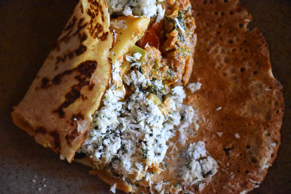 Indian Spiced Pancake with Coconut Chutney
