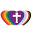 Reconciled in Christ logo - pride colored hearts with cross in center