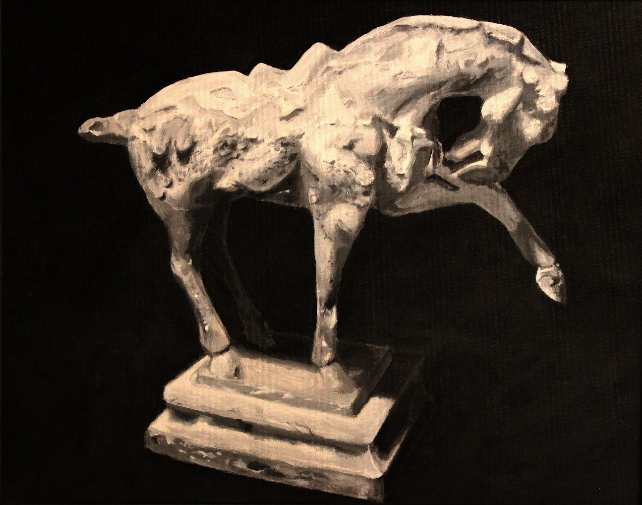 Horse_Statuette._Ink_on_canvas