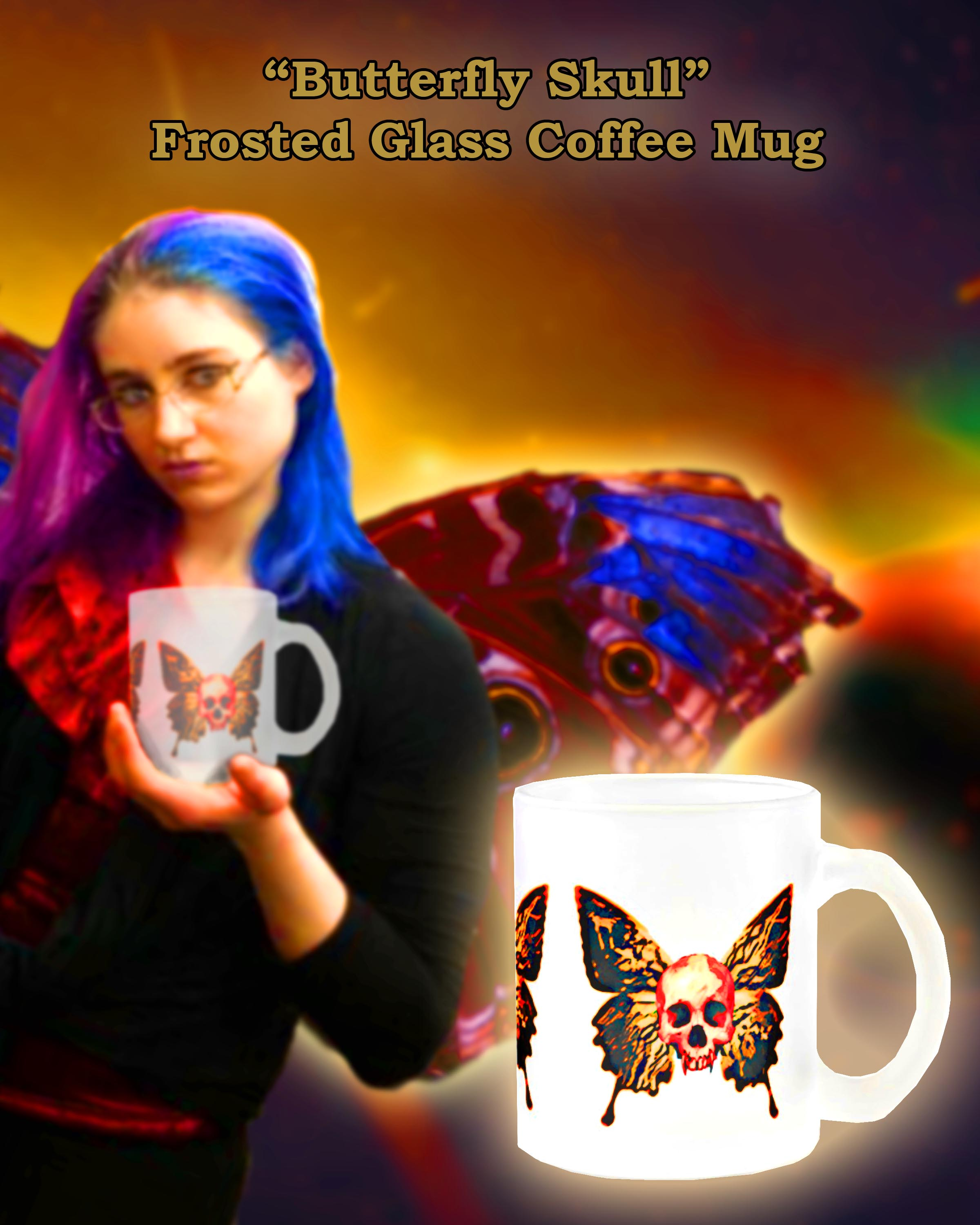 butterfly skull frosted glass coffee mug
