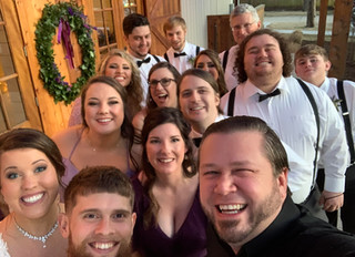 DJ Justin Jaggers with Marley & Ross Smith (and bridal party) at Avon Acres 2.29.20