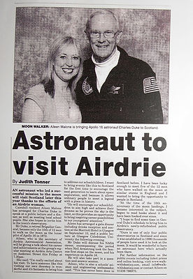 Astronaut to visit Airdrie, Scotland. Charlie Duke