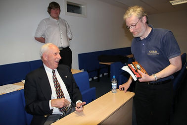 Apollo Astronaut, Al Worden and Author, David Woods at the Walk With Destiny event at Glasgow Caledonian University, 2011