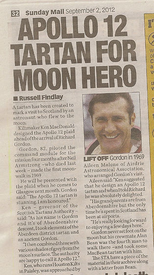 Article in the Sunday Mail about Apollo 12 Tartan designed for Apollo 12 Astronaut, Dick Gordon's Walk With Destiny visit to Scotland in 2012