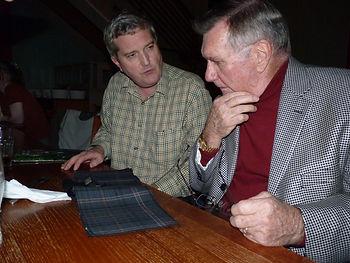 Kiltmaker, Ken MacDonald, and Apollo 12 Astronaut, Dick Gordon, Discuss ideas for the new Apollo 12 Tartan