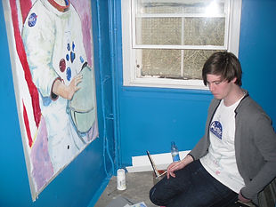 Students working on the Airdrie Observatory Mural Project