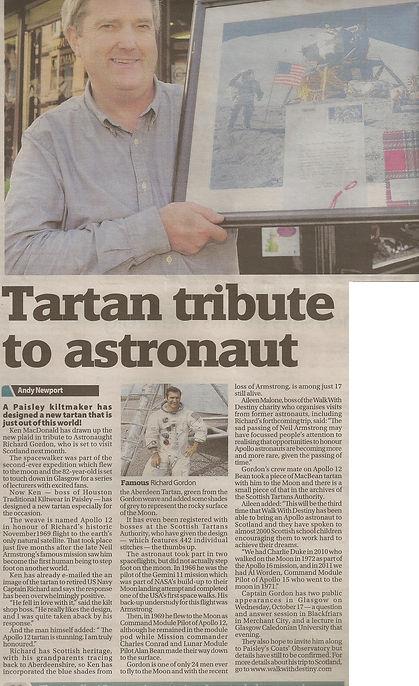 Apollo 12 Tartan designer, Ken MacDonald, Designed a special tartan to celebrate Apollo Astronaut, Dick Gordon's Walk With Destiny visit to Scotland in 2012