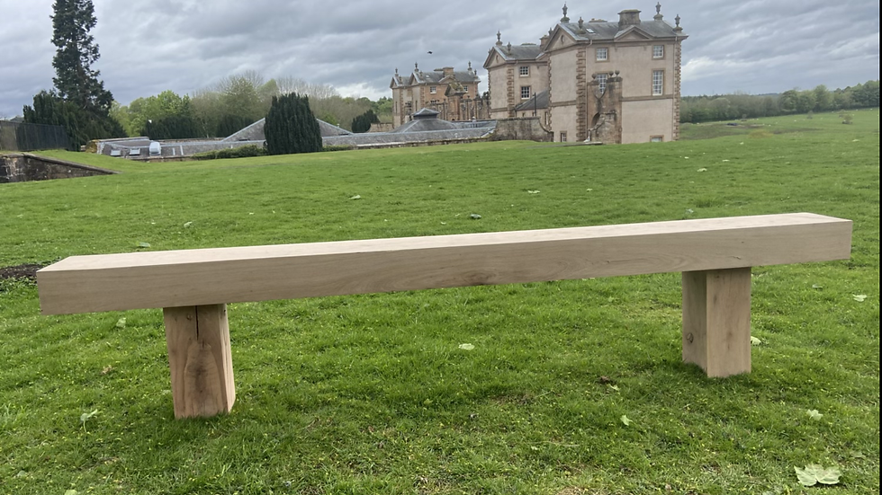 Natural Oak bench- 2.4 metres.  125mm thick beam, by 225mm.