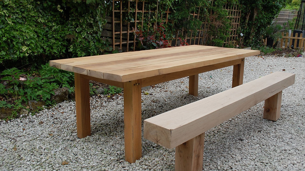 Oak banqueting table - 2.4 metres long, 50mm thick top.