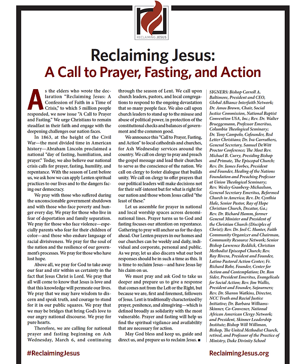 Reclaiming Jesus printed Statement
