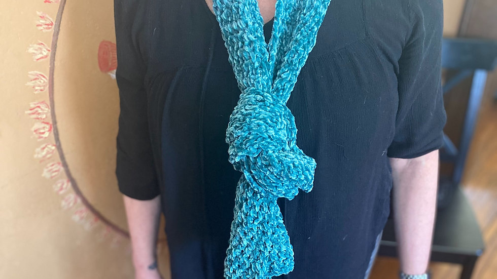 Handmade Chenille Scarf - Turquoise