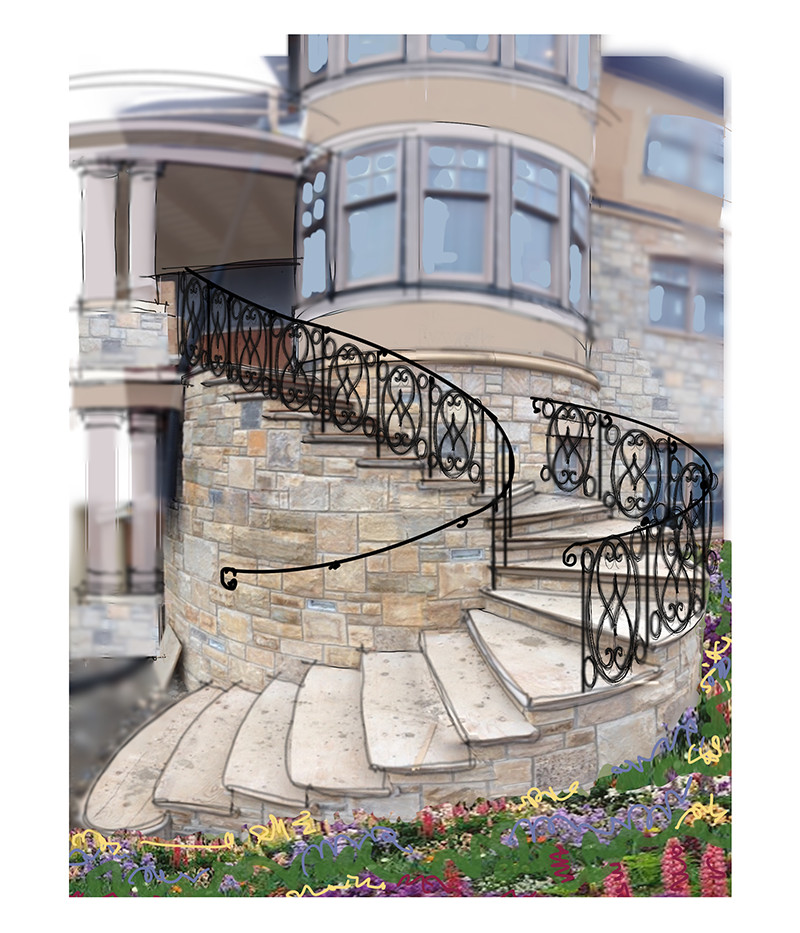 Exterior Stair Sketch Italianate Skaneatleles _Ramsgard