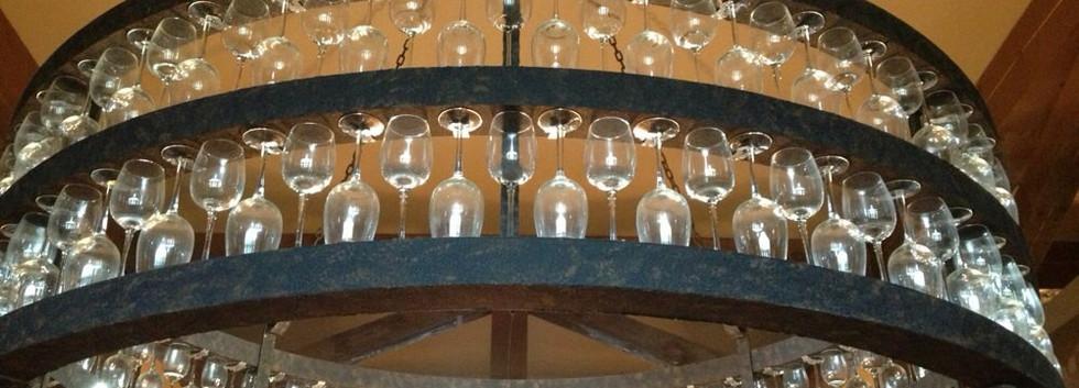 WIne Glass Chandelier Magnus Ridge Winery_Ramsgard