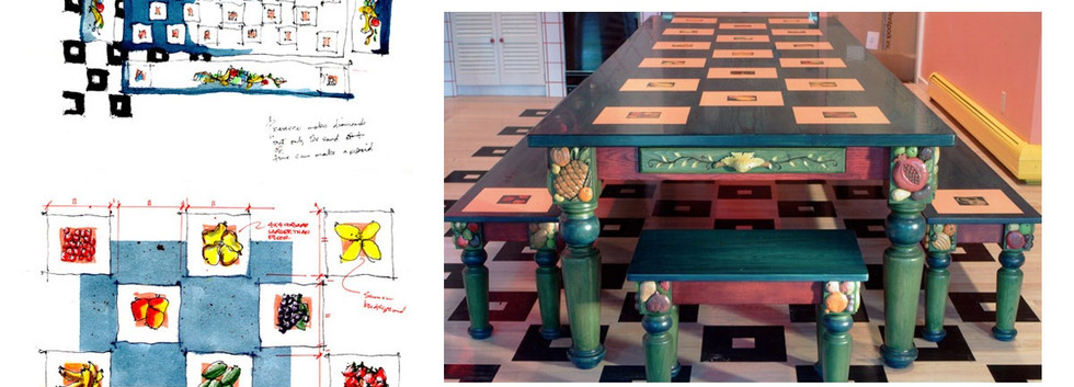 Custom Dining Table Stained Fruit Colorful checkered_Ramsgard
