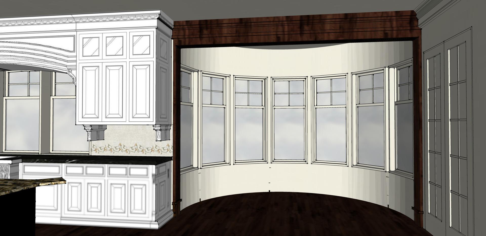 Kitchen Casing Bar & Library Sketch Italianate Skaneatleles _Ramsgard