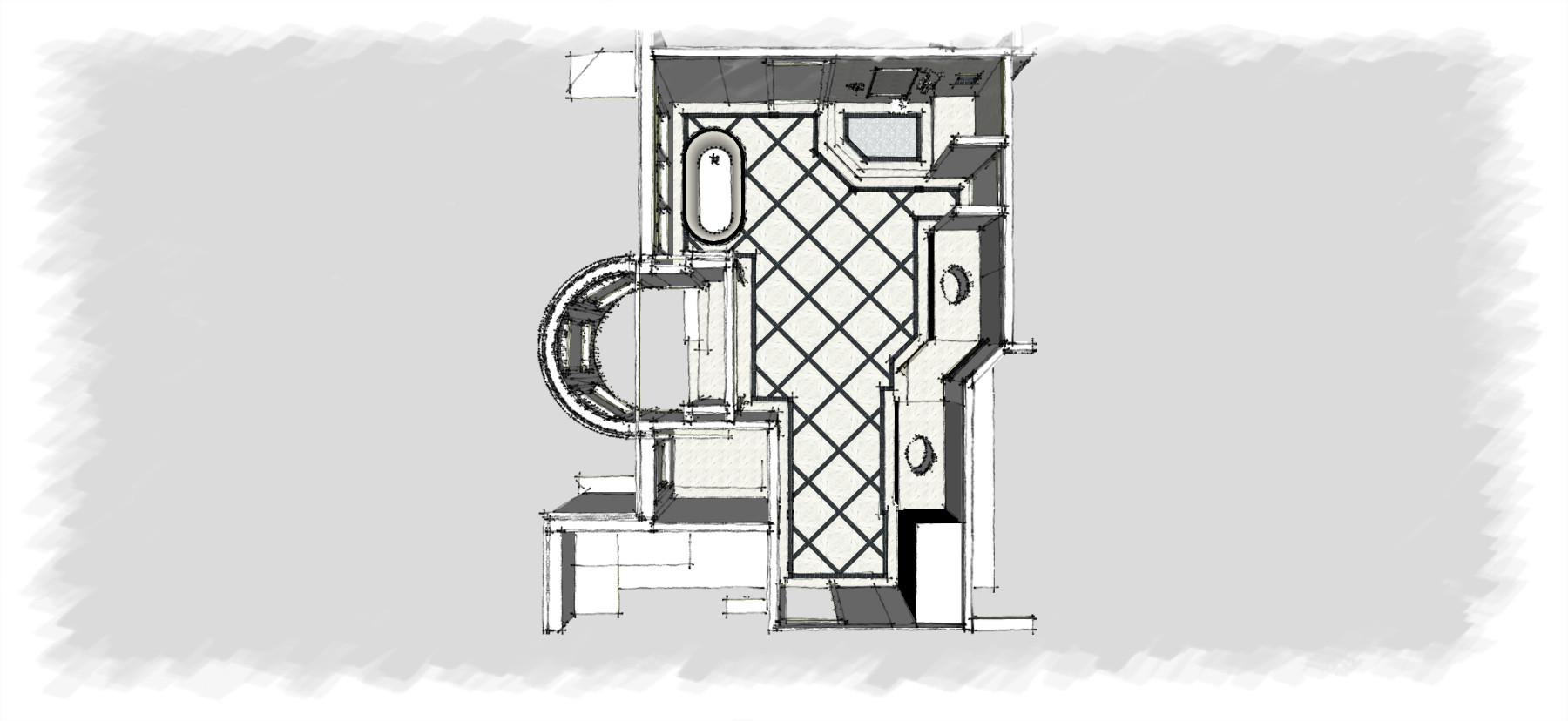 Master Bathroom Bar & Library Sketch Italianate Skaneatleles _Ramsgard