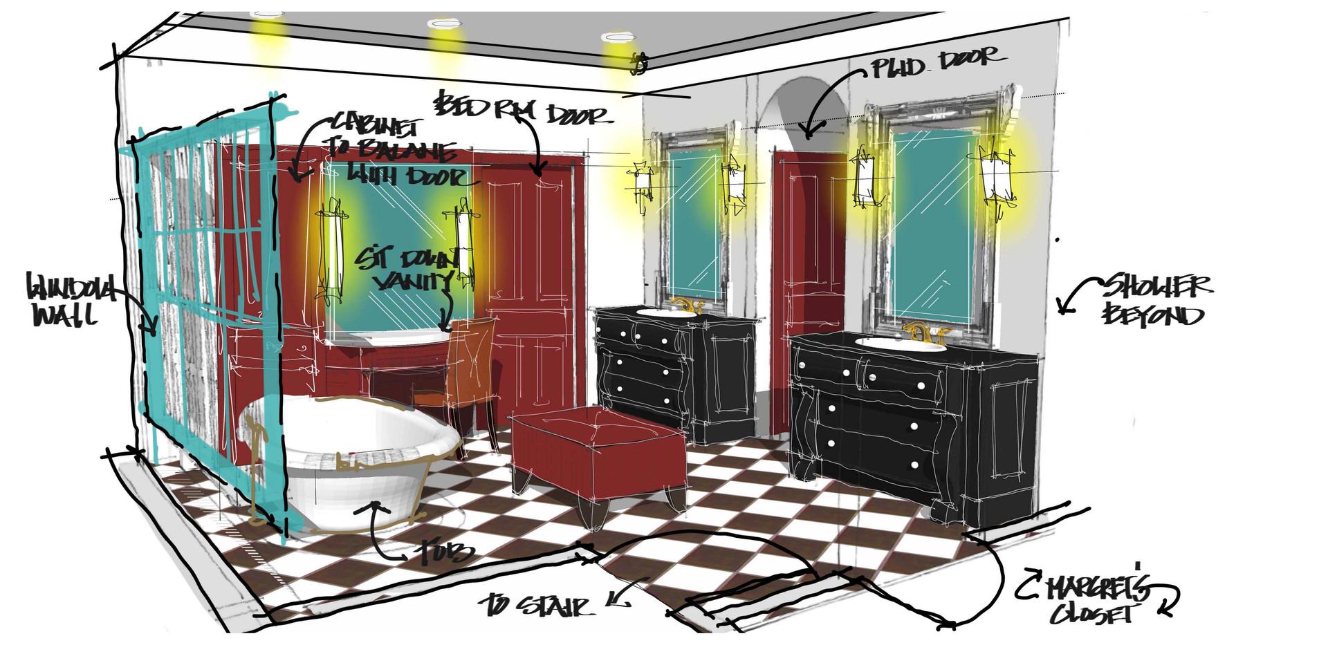 Master Bath Bar & Library Sketch Italianate Skaneatleles _Ramsgard