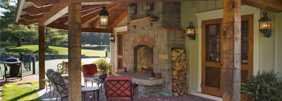 SIde Porch Fireplace Carriage House Barn Skaneateles_Ramsgard