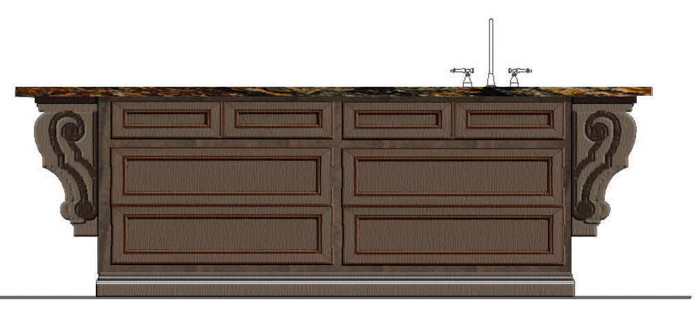 Kitchen Island Elevation Sketch Italianate Skaneatleles _Ramsgard