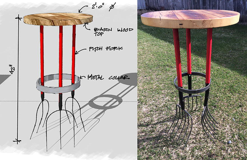Pitch Fork Table & Drawing Bryne Agro Tourism Center_Ramsgard