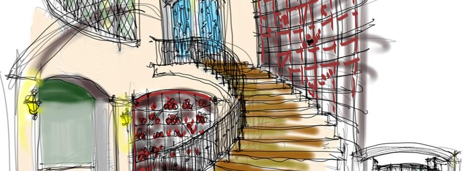 Staircase render Snooks Hollow Retreat LEED Platinum_Ramsgard