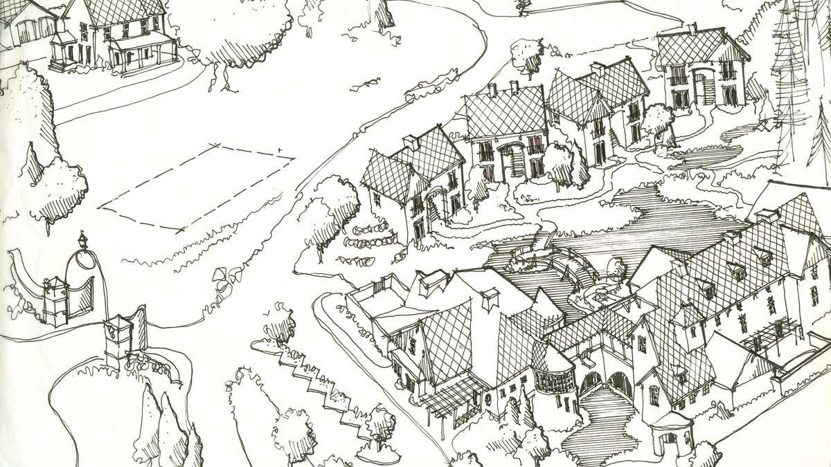 Mirbeau cottages sketch_Ramsgard