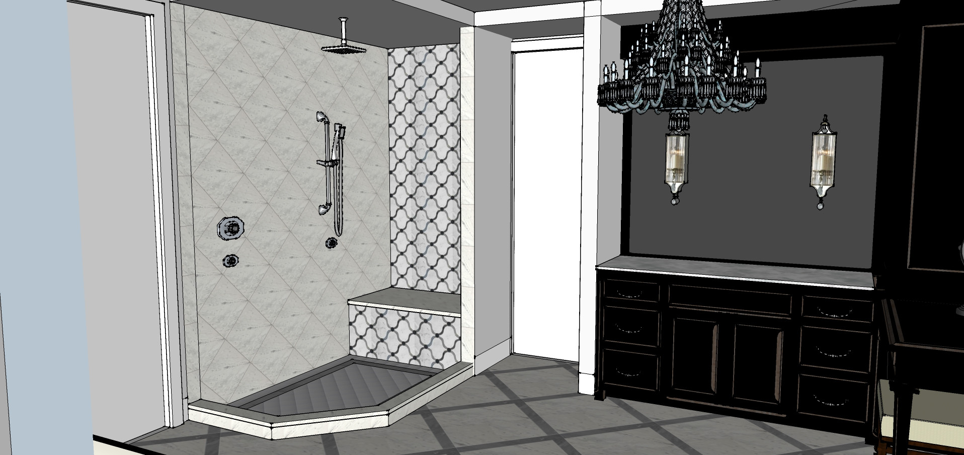 Master Bathroom Sketch Italianate Skaneatleles _Ramsgard