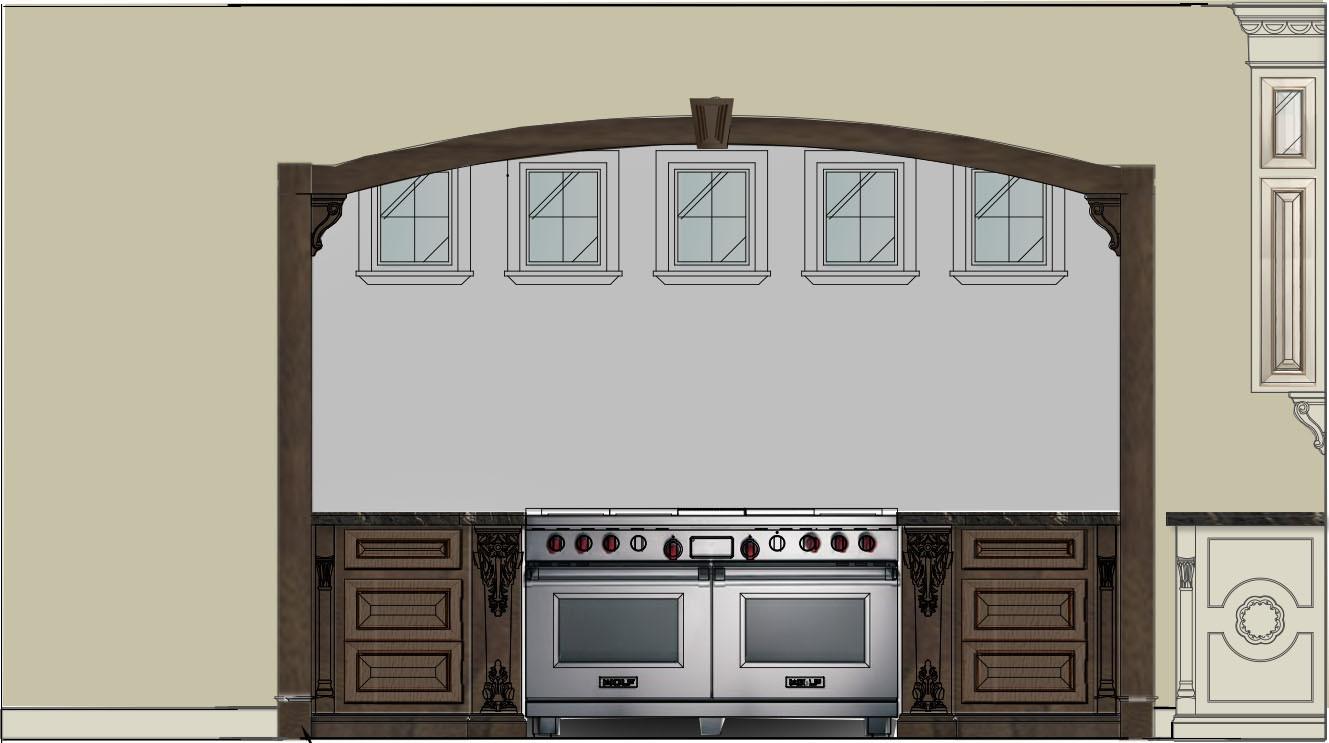 Kitchen Bar & Library Sketch Italianate Skaneatleles _Ramsgard