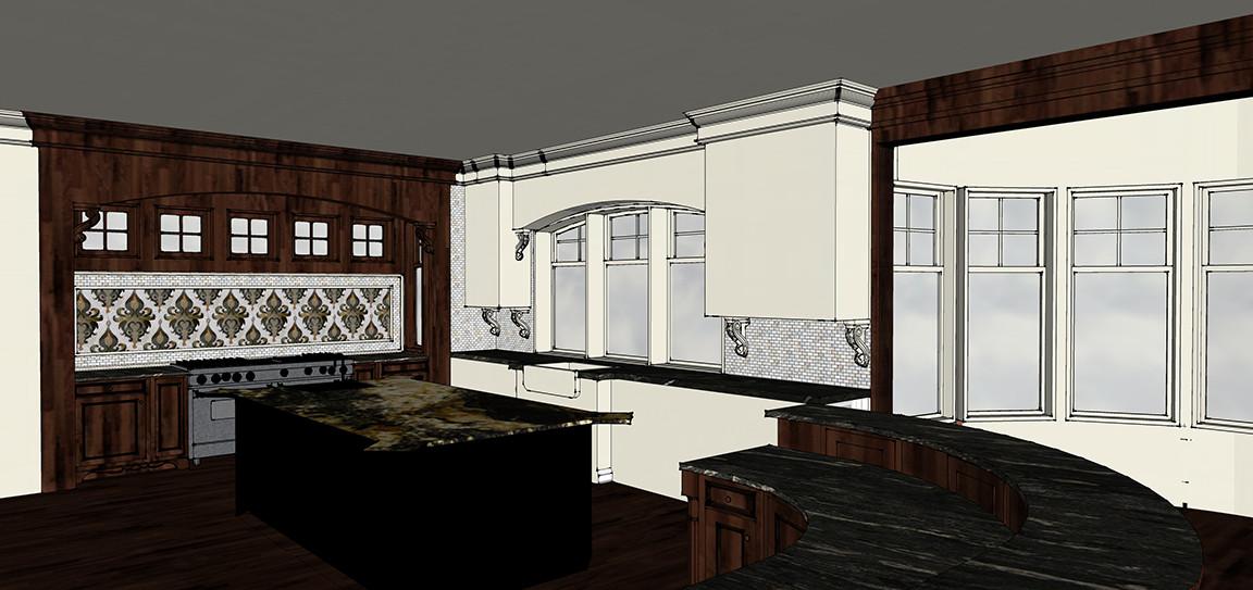 Kitchen Backsplash Bar & Library Sketch Italianate Skaneatleles _Ramsgard