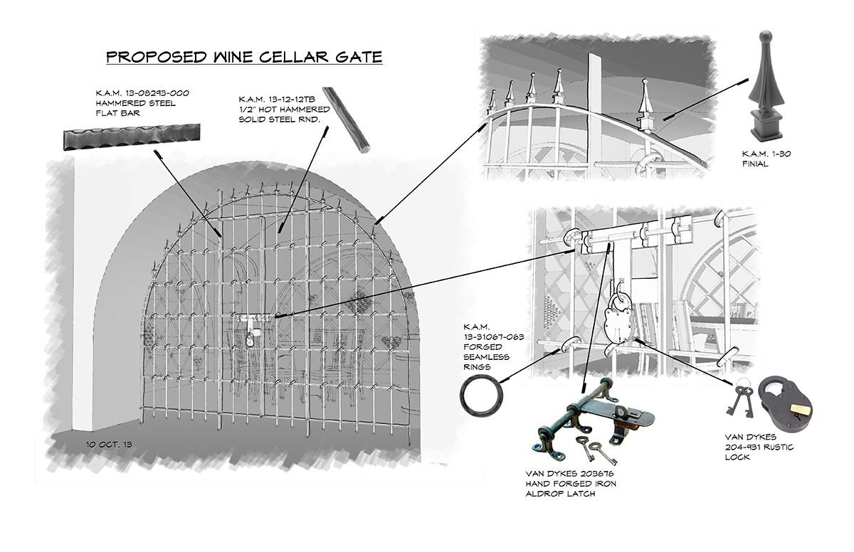 Wine Room Gate Sketch Italianate Skaneatleles _Ramsgard