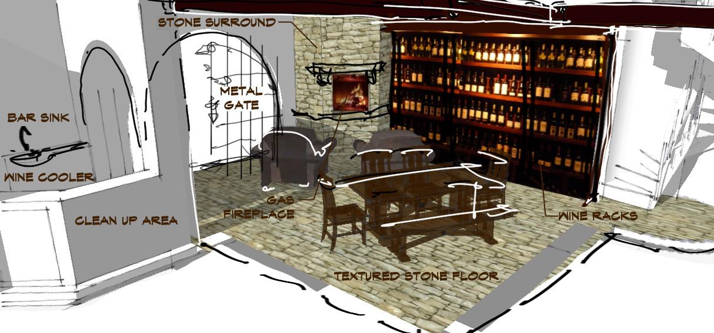 wine cellarSketch Italianate Skaneatleles _Ramsgard