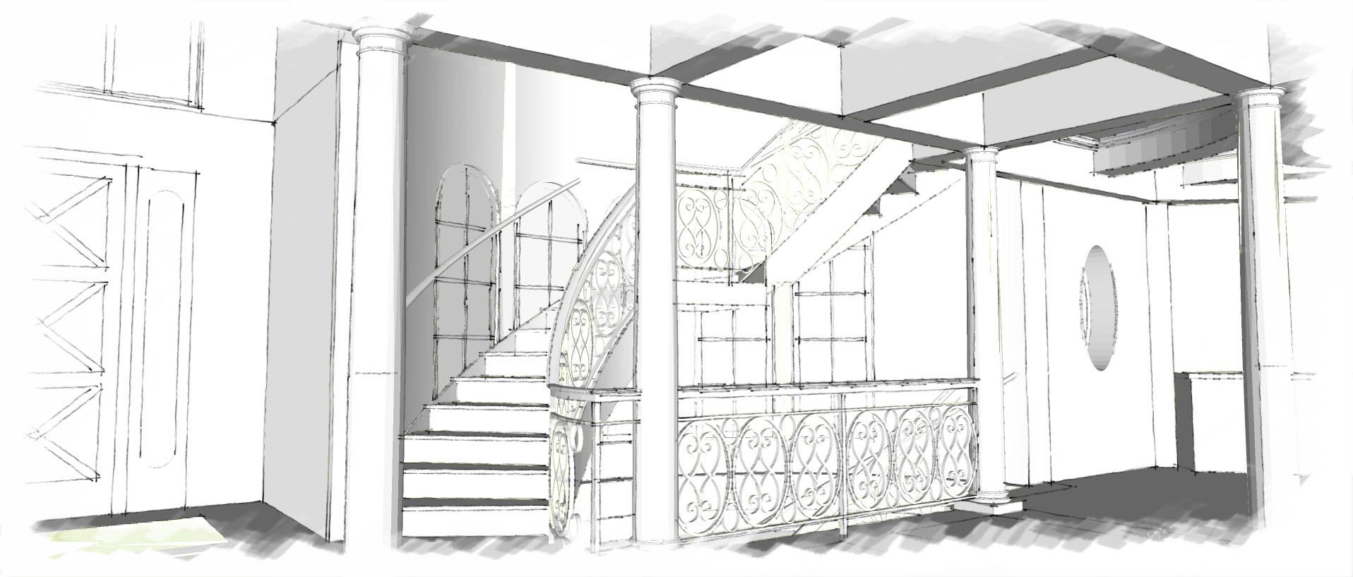 Stairway Sketch Italianate Skaneatleles _Ramsgard