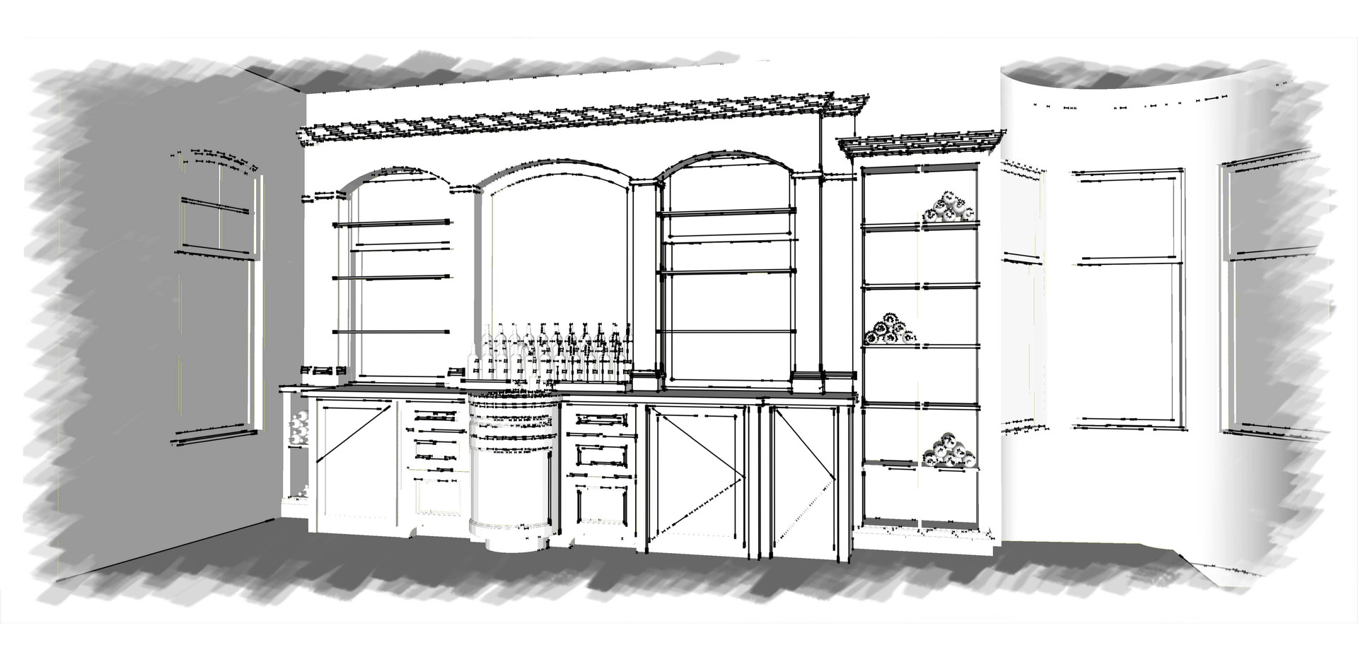 Bar Area Sketch Italianate Skaneatleles _Ramsgard